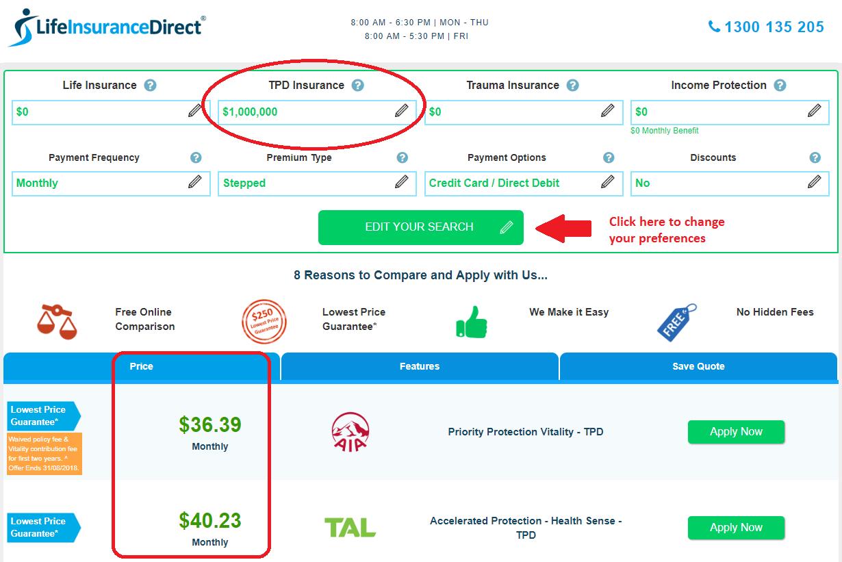 TPD price comparison
